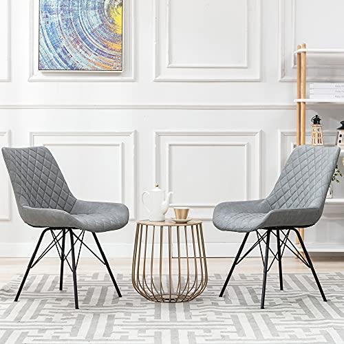 2er Set Esszimmerstühle Küchenstuhl PU-Leder Wohnzimmerstuhl Metallbeine, Grau