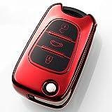 Heart Horse Custodia protettiva per chiavi a scatto a 3 pulsanti, pieghevole, compatibile con Hyundai i20 i30 i35 iX20 iX35 Sportage Verna, in morbido TPU Rosso