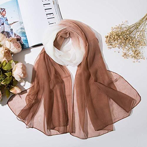 hdggzkm sjaal van zijde met kleurverloop, dun, strandhanddoek, vrouwelijk, overgang, kleur sjaal, crème, zonne-energie, wild zacht, draad H