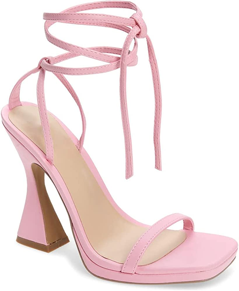 Trish Lucia Womens Lace Max 80% OFF Up Chunky Sandals H Heel Toe Square New mail order High