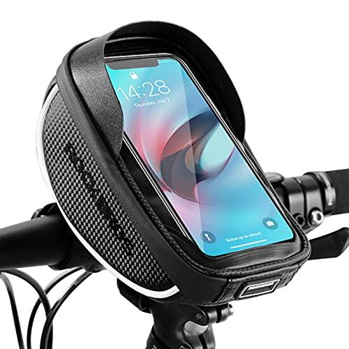 ROCKBROS Lenkertasche Fahrrad Handyhalterung 360 Grad Drehbar für GPS, Navi, Smartphone bis zu 6.0 Zoll Empfindlicher Touchscreen Wasserdicht Fahrradtasche Stil 1