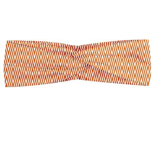 ABAKUHAUS Diadame Cheurón, Banda Elástica y Suave para Mujer para Deportes y Uso Diario Naranja ondulada rayas Modelo geométrico abstracto composición creativa, Naranja y blanco