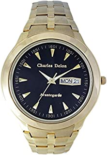 Charles Delon Men's Quartz Watch, Analog Display and Solid Stainless Steel Strap 5247 GGBD