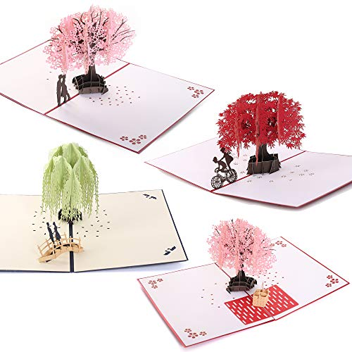 Handmade 3D Pop Up Cards - Trees Set Handmade Pop Up Greeting Card for Your Loved Ones, Wedding Anniversary Card for Couple, Valentine Day, Happy Birthday Cards (Set of 4)