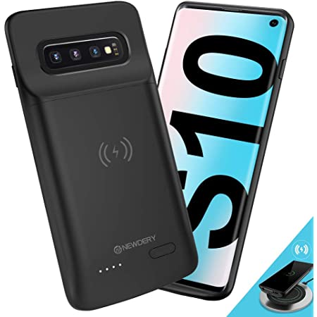 NEWDERY Upgraded Samsung Galaxy S10 Battery Case Qi Wireless Charging Compatible, 4700mAh Slim Rechargeable Extended External Charger Case Compatible Samsung Galaxy S10 (2019)-(6.1 Inches Black)