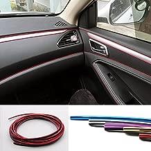 YIJINSHENG Car Interior DIY Automobile Motor Exterior Decoration Moulding Trim Strip line Sticker Insert Type Air Outlet Dashboard Decoration 3D Strip 8 Meters(Chrome red)