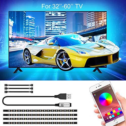 LED TV Hintergrundbeleuchtung APP, SRUIK 2M LED Strip USB RGB LED Fernseher Beleuchtung für 32-60 Zoll TV, APP-Steuerung Sync mit Music, Bias Lighting LED Streifen für PC, TV-Bildschirm, Spiegel usw