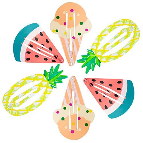 Oblique Unique® Haarspangen Set 6 Stück - Je 2X Ananas 2X EIS 2X Melone Haarclips Haar Spangen Accessoires Haarschmuck für Sommer Garten Strand Hawaii Party Feier Karneval Fasching