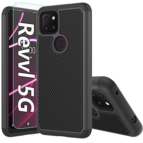 T-Mobile Revvl 5G Case,Revvl 5G Case,with HD Screen Protector [Shock Absorption] Hybrid Dual Layer TPU & Hard Back Cover Bumper Protective Case Cover for T-Mobile Revvl 5G (Black Armor)