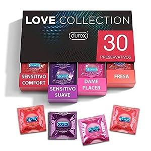 Durex - Preservativos Love Collection sabor fresa, dame placer, sensitivo suave y sensitivo comfort - 30 condones