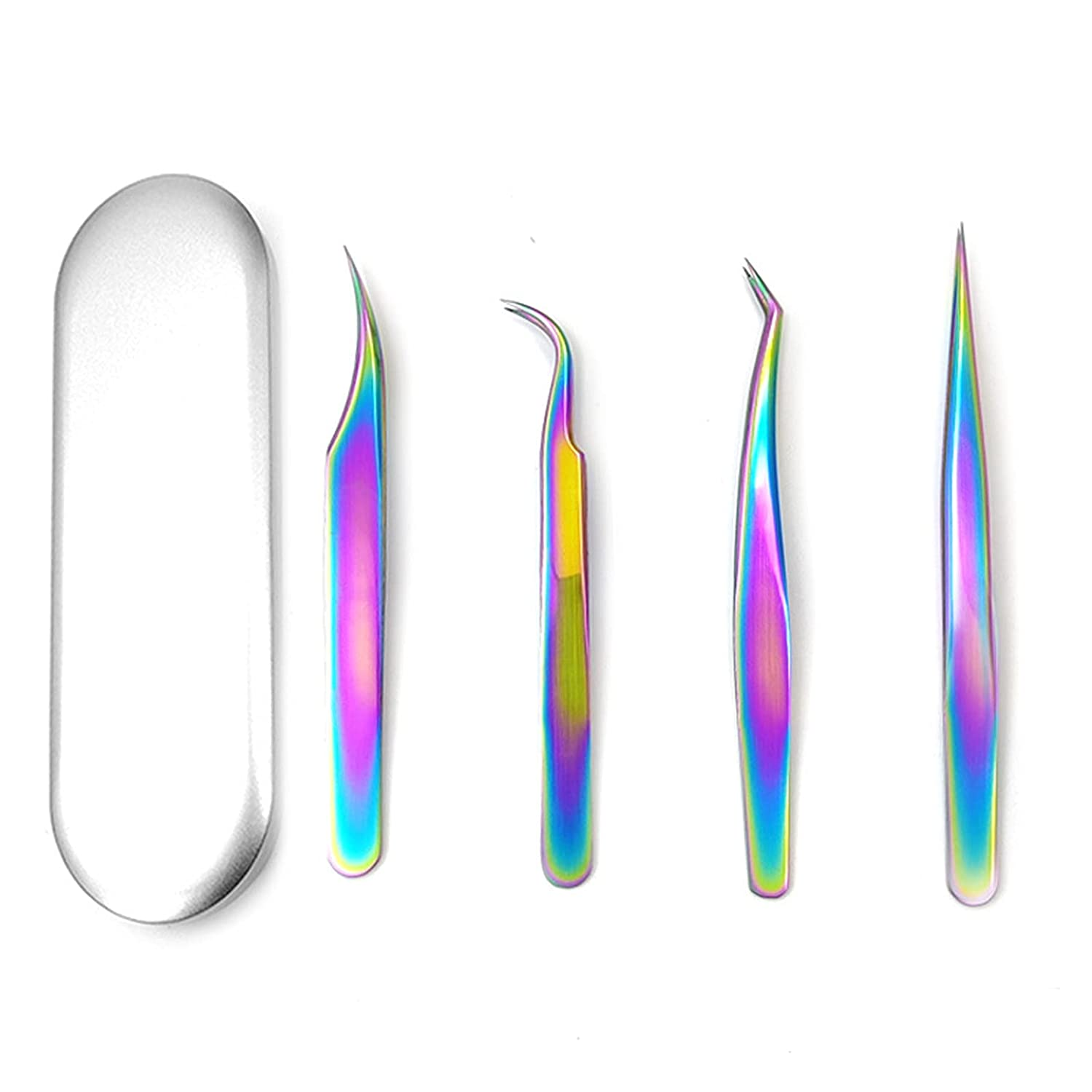 NICENEEDED 4Pcs Precision Indianapolis Mall shopping Tweezers for Tin with Case Eyebrows C
