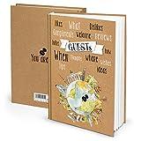 Logbuch-Verlag – Libro de visitas internacional con título inglés DIN A4, color Guests Marrón Blanco ohne Metallecken
