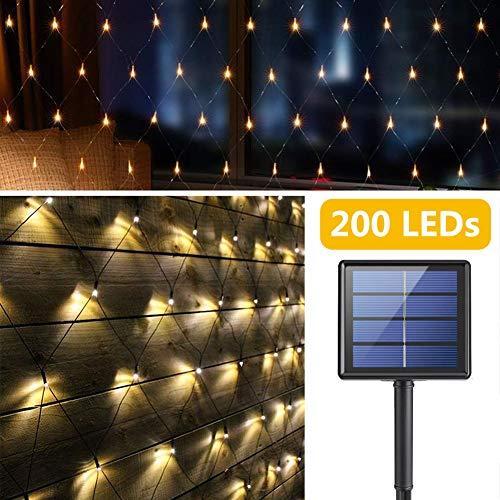 Red de Luz LED Solar Exteriores, 200 LEDs Luces de Cortinas, 3M x 2M Impermeable Luces Netas Hadas, 8 Modos Automático de las Luces Decorativas para Jardín Backyard Patio Balcón Valla (Blanco Cálido)