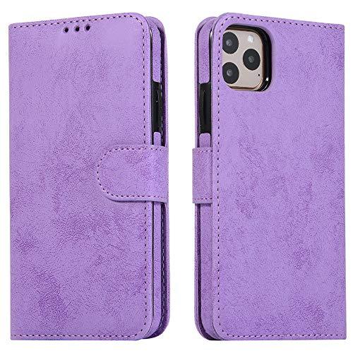 ZXMDP Funda extraíble de Cuero de Lujo para iPhone SE 2020 12 Mini 11 Pro XR XS MAX 6 6s 7 8 Plus 5 5s Flip Wallet Card Phone Bags Cover, Morado, para 7PLUS 8PLUS