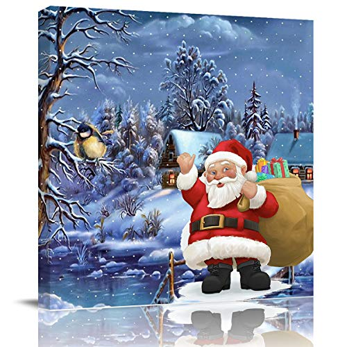 WAZZIT Canvas Wall Art Framed Merry Christmas Theme Santa Claus Oil Painting Artwork Print on Wrapped Canvas for Walls for Bedroom Bathroom Office Decor, 20x20 inch