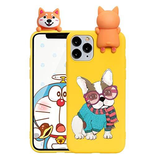 ZhuoFan Custodia Apple iPhone 6 / 6s con 3D Cartoon Doll, Sottile Giallo Back Bumper Cover Silicone con Print Cane Pattern Shockproof Protettiva Phone Cases per Apple iPhone 6 / 6s, Cane