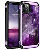 BENTOBEN iPhone 11 Pro Max Case, Shockproof Glow in The Dark Slim 2 in 1 Hybrid Hard PC Soft Bumper Nebula Space Design Luminous Protective Phone Cases Cover for iPhone 11 Pro Max 6.5', Purple Galaxy