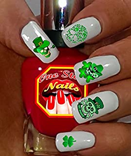 St Patrick's Day Nail Art Decals (Tattoo). Shamrock, Green, Skull, Clover, Luck. Set of 50 Waterslide Nail Art Decals. OSN-SPD005-50 by one Stop Nails