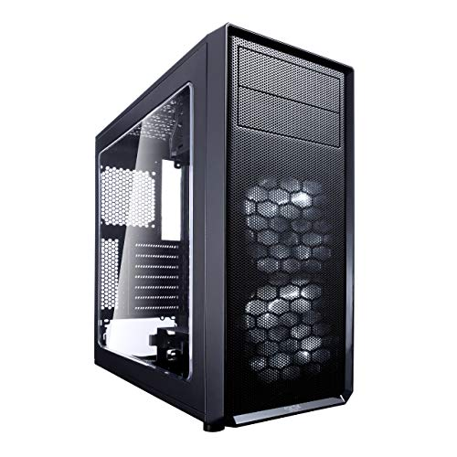 Fractal Design FD-CA-Focus-BK-W Focus G - Mid Tower Computer Case - ATX - High Airflow - 2X Silent ll Series 120mm White LED Fans Included - USB 3.0 - Window Side Panel - Black