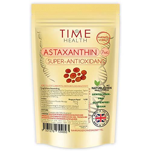 Astaxanthin - Haematococcus Pluvialis - 7 mg - Optimale Dosis - Super-Antioxidans - 100% rein, natürlich bioverfügbar 4-Monatsvorrat - 100% Natürlich (120 Kapseln pro Beutel)