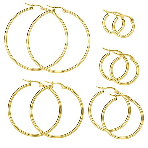 Elicola 5 Pairs Stainless Steel Hypoallergenic Large Hoop Earring Sets for Women Girl Gold