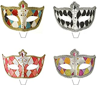 Novelty Masquerade Mask Harlequin Mix 12 Edible StandUp wafer paper cake toppers