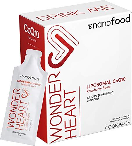 Nanofood Wonder Heart Liquid CoQ10 Liposomal Ubiquinone Supplement, Coenzyme Q10 Heart Vitamins, Non-GMO Sunflower Phosphatidylcholine Vegan Blend, Raspberry Flavored Softgel, Pack of 30 Pouches