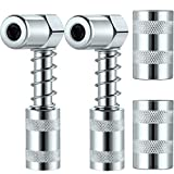 Boao 4 Pieces 90 Degree Grease Coupler Silver Coupler Adapter 3 Jaw Angle Grease Fitting Tool with Sleeves for Auto, Farm, Truck or Industrial Use