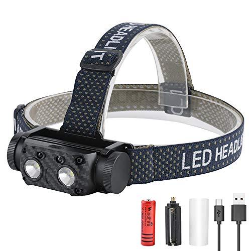 LUXJUMPER Linterna Frontal LED USB Recargable, 1500 Lúmenes alta Potencia Linterna Cabeza 8 Modos Sensor de movimiento IPX4 Impermeable led para Camping, Excursión, Pesca, Carrera, Ciclismo