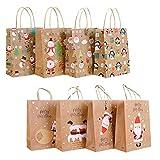 Senteen Bolsas de regalo de navidad 16 Pcs Bolsas De Regalo Con Asas Bolsitas Kraft Originales Para Personalizar y Envolver Regalos, Envoltorio Para Fiestas De Cumpleaños Navidad y Más