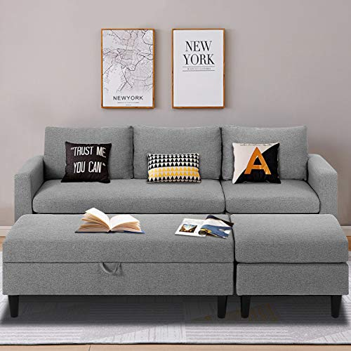 Esright Small Sectional Sofa with Storage Ottoman and Chaise Lounge, 3-Seat Fabric Living Room Furniture Sets, L-Shape Couch Sofa for Small Apartment, Living Room, Gray
