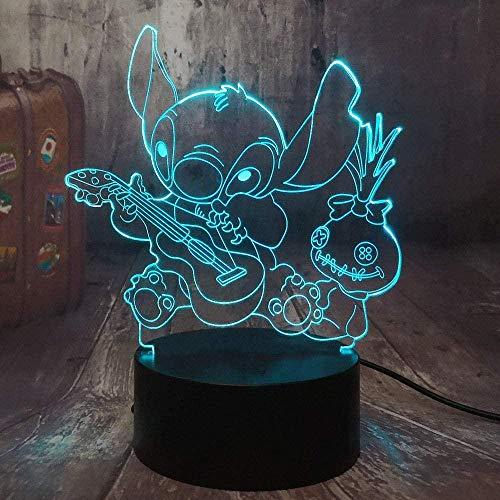 Tatapai Cartoon Figur Stich 3D LED Nachtlicht Happy Stitch Spielen der Gitarre mit Freunden Scrump Sleep Desk Lampe Home Decor Kid Geschenk