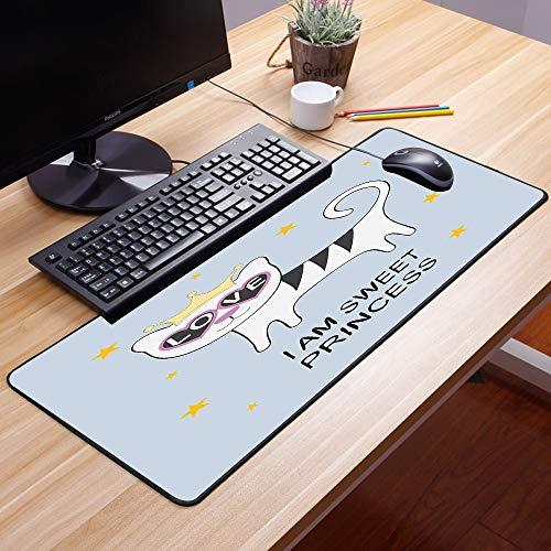 Gaming Mauspad - 600 x 350 mm,Ich bin eine Prinzessin, süße Prinzessin Katze mit herzförmigen Brille Liebe Royal Animal Ch,Vernähte Kanten - rutschfest - Mousepad mit Einer Gummiunterseite Oberfläche