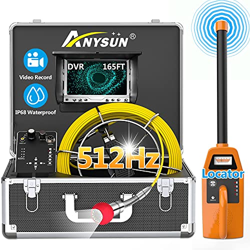 """Sewer Camera with Locator, Anysun 165ft Pipe Video Inspection Camera with 512Hz Sonde and Receiver, Waterproof Drain Plumbing Camera Snake with 7"""" LCD Monitor DVR Recorder(8GB SD Card Included)"""