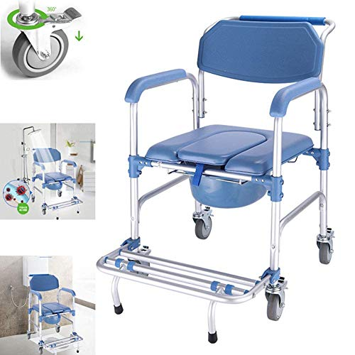 4 in 1 Commode Chair/With Wheeled Toilet Chair/Wheelchair Shower Transport Chair /4 Wheel Brakes(360°)/Foldable Mobile Toilet Elderly Disabled Person