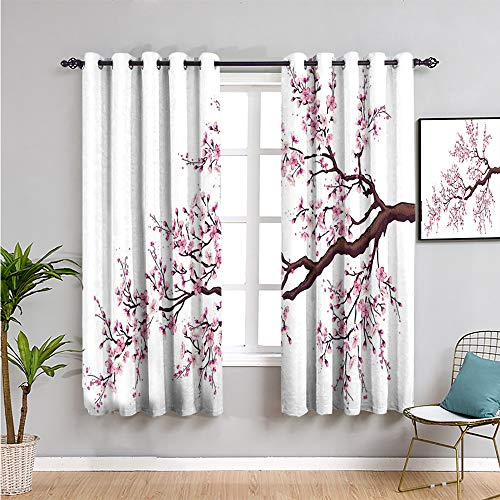 Japanese Bedroom Decor Blackout Shades, Curtains 45 inch Length Branch of a Flourishing Sakura Tree Flowers Cherry Blossoms Spring Theme Art Waterproof Fabric Pink Dark Brown W63 x L45 Inch