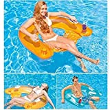 Kyman Ride-On colchón de Aire Inflable Anillo Flotante Inflable Sentado Fila Fila Adulto Fiesta en la Piscina Piscina Flotante Cama de Agua, Verde (Color : Orange)