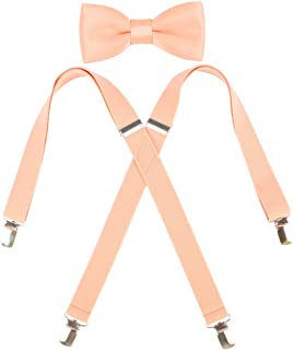 Kat Cheung Bahar 2PCS Bow Tie And Suspenders Set For Kids 4 Clips Adjustable X