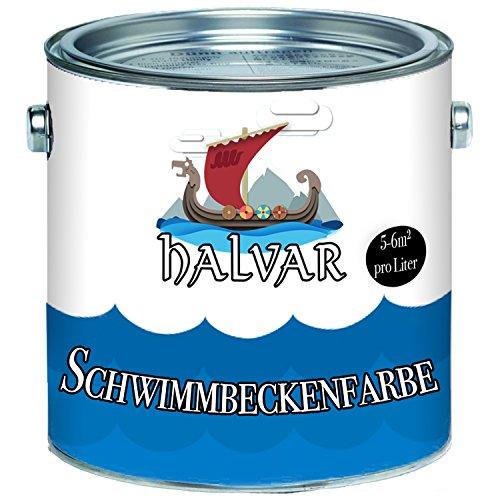 Halvar Schwimmbeckenfarbe skandinavische Poolfarbe Schwimmbadfarbe Schwimmbeckenbeschichtung in Blau Weiß Grün Seegrün Lichtgrau Grau Anthrazitgrau (1 L, Weiß)