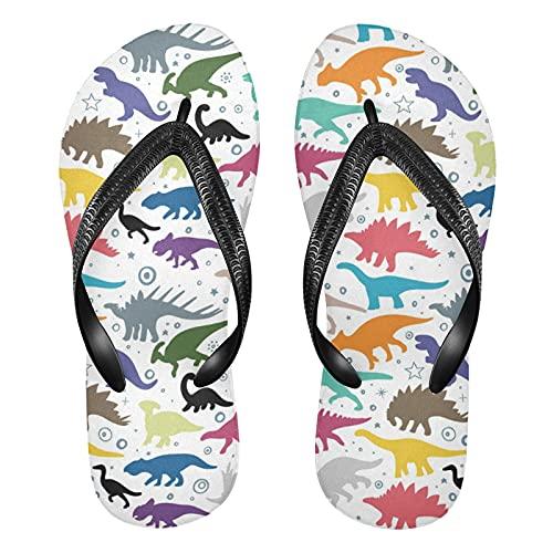 Linomo Chanclas de dedo para hombre y mujer, con diseño de dinosaurios, multicolor, estilo informal, para verano, playa, para estar por casa, color Multicolor, talla 35/36 EU