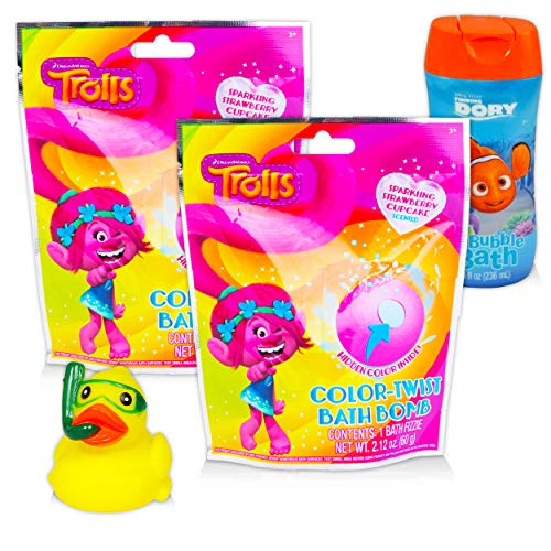 Product Image of the Trolls Bath Toys for Kids Set ~ 2 Trolls Bath Bombs, Finding Dory Bubble Bath,...
