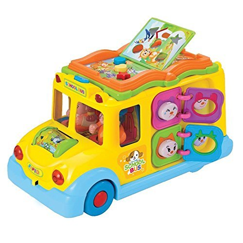 Deluxe Interactive School Bus Educational Musical Toy For Children By DanPanda – 8 Different Activities, Bright Colors, Flashing Lights, Two Passengers, Sound & Music – Teaching Game For Toddlers