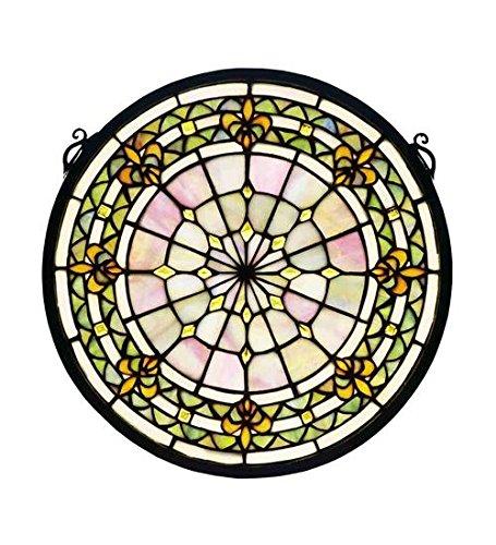 "Meyda Tiffany 49839 Fleur-De-Lis Medallion Round Stained Glass Window, 13"""