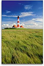 Premium Textil lienzo 80 cm x 120 cm de alto, Faro Westerheversand, Nordfriesland, Schleswig-Holstein - Cuadro de pared sobre lienzo, diseño de Calvendo Orte