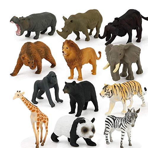U/K PULABO 12 Stücke Mini Tier Spielzeug Set Kunststoff Pädagogisches Dinosaurier Spielzeug Dschungel Tier Spielzeug Überlegene Qualität Gutes