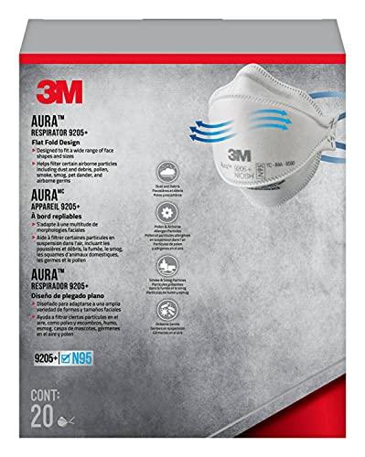 3M Aura Particulate Respirator 9205+ N95, 20/Pack