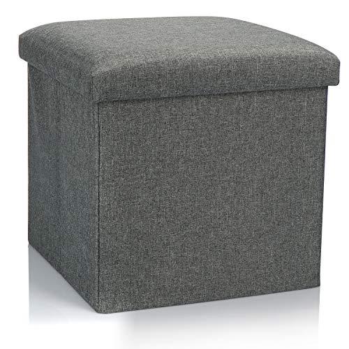 COM-FOUR® Klapbare kruk - Zitkruk met opbergruimte - Opbergdoos om in te zitten - 40 L (01 stuk - grijs)