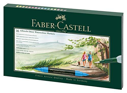Faber-Castell 160318 Aquarellmarker Albrecht Dürer mit Doppelspitze für flächigen und präzisen Farbauftrag, inklusive Wassertankpinsel, 16er Etui, bunt