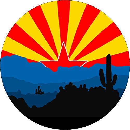 TIRE COVER CENTRAL Arizona Flag Desert State Spare Tire Cover (Select tire Size/Back up Camera Option in MENU) Custom Sized to Any Make/modelfor 225/75R16