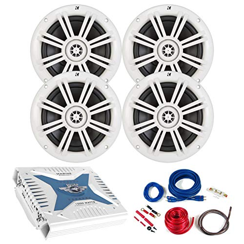 4 x Kicker 6.5' Marine Boat Coaxial White Speakers Bundle Combo With Pyle 1000 Watt 4-Channel Marine Car Bluetooth Amplifier and Complete Amplifier Installation Wiring Kit